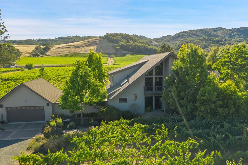 Coveted Carriger - aerial view of home, and vineyard.